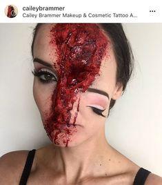 Face split, creepy, spfx, special fx makeup, fake blood, facepaint, inspo, makeup, 31 days of Halloween Makeup, half face, rotten flesh, brains, maggot face paint. By Cailey Brammer