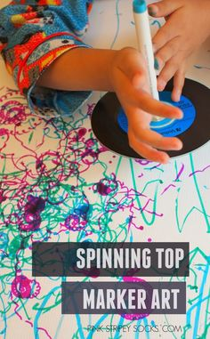 Mix science and art with this great activity! Simply spin the markers and watch them go! Great activity to do with the kids!