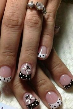 New french pedicure designs toes polka dots 63 Ideas French Pedicure Designs, Black Nail Designs, Simple Nail Art Designs, Best Nail Art Designs, French Nails, Fashion Nail Art, Toe Nails, Summer Nails, Pretty Nails