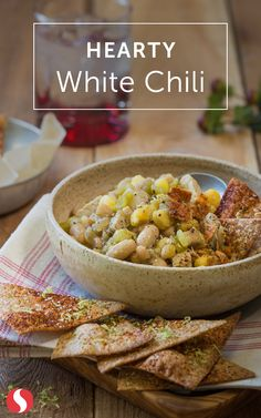 As the weather cools off, this hearty white chili is the perfect recipe to keep you and your family warm and cozy. Try this recipe that takes less than 30 minutes today! Crockpot Recipes, Soup Recipes, Cooking Recipes, Healthy Recipes, Good Food, Yummy Food, Tasty, White Chili, Soups