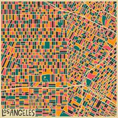Los Angeles - Abstract Maps by Jazzberry Blue + Paris, New Delhi, Milan, Jerusalem, London,New York