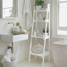 THE SPRING REFRESH   Keep your bathroom stylishly tidy with this chic ladder shelf. #DreamBathroom #Interiors #DreamHome