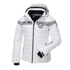 Campagnolo, ski jacket women, White-gray Sportive water repellent ski jacket by Campagnolo Sportive water repellent Campagnolo ski jacket, a great Italian brand. The horizontal stripe on the chest give this jacket a sportive look. This jacket has a detachable adjustable hood, a pocket on each side with zipper, lift pass pocket on the left sleeve.