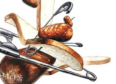 식빵 & 소세지(음식) & 옷핀(스틸) Design Art, Drawings, Instagram Posts, Crafts, Paintings, Sketches, Manualidades, Paint, Painting Art
