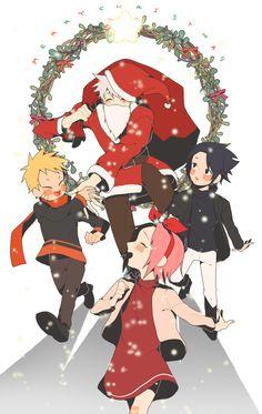 Naruto, Kakashi, Sakura, and Sasuke #Christmas