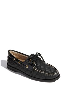 Sperry - quilted black leather