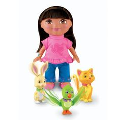 "Dora The Explorer Dora's Pet Play Date by Fisher Price. $19.90. Kitty's Tail Wiggles!, Bunny's Ears Move!, & Bird Flaps Wings!. Pets Magically Move. Dora loves her pet pals and in this set they show their appreciation! Each animal moves when Dora pats their head. Baby bird flaps his wings, Bunny's ears move and Kitty's tail wiggles! Includes 3 animals that stand approx. 3"" H variably and a Dora doll with beautiful rooted hair and a stylish pet themed outfit!"