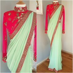 PASTEL JAAN. Beautiful pista green color designer saree and pink color designer blouse with full length sleeves. Blouse with hand embroidery zardosi work. 23 November 2017
