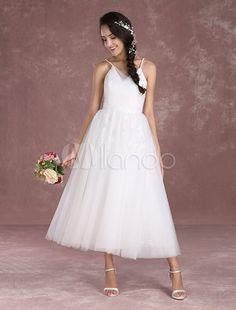 Boho Hochzeit Kleid mit Spaghettiträger und Reißverschluss Tüll in Elfenbeinfarbe knöchellang