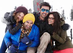 "Actors Kalki Koechlin, Aditya Roy Kapoor, Ranbir Kapoor & Deepika Padukone on sets of ""Yeh Jawaani Hai Deewani"""