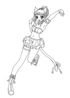 Clementine from Mew-mew anime coloring pages for kids, printable free