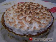Λέμον πάι Dessert Recipes, Desserts, Greek Recipes, Sweet Tooth, Lemon, Yummy Food, Sweets, Baking, Fruit
