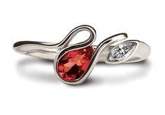This attractive Salsa ring is made in Argentium Silver, set with a 6 x 4mm pear shaped garnet stone and a 4 x 2mm CZ marquise. The ring is available in sizes J to R and there are a variety of colourful gemstones that you can choose from.  Each ring is marked with the prestigious Britannia Silver hallmark, together with the Argentium Winged Unicorn Trademark - the guarantee of purity and quality. #Argentium #Silver Blue Topaz Stone, Peridot Stone, Garnet Stone, Garnet Rings, Blue Topaz Ring, Blue Rings, Gemstone Colors, Gemstone Rings, Keepsake Rings
