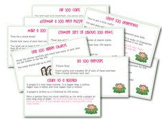 From Sunny Days in Second Grade: Hundred Day Station Hoopla FREEBIE! Great Station task cards, tickets, etc.