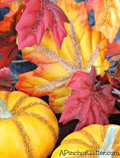 Glittered Pumpkins n' Leaves
