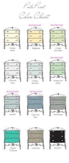 Poets Paint Color Chart Paint Stain, Paint Finishes, House Painting, Diy Painting, Upscale Furniture, Paint Color Chart, Chalk Paint Furniture, Furniture Refinishing, Dresser