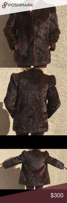 """Mink Fur Coat Ribbed MINK Fur Coat Size 10. No Label. 2 Pockets. 4 Hook/Eye Closure. Great Pre-Loved Condition. (Model is size 6-8 and 5'7"""" tall) Jackets & Coats"""