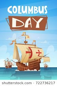 Happy Columbus Day National Usa Holiday Greeting Card With Ship In Ocean Sea Water Flat Vector Illustration Happy Columbus Day Usa Holidays Columbus Day