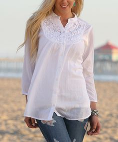 Look at this Ananda's Collection White Crochet-Neck Three-Quarter Sleeve Tunic on #zulily today!