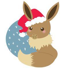 • Christmas art cute kawaii eevee jolteon flareon vaporeon espeon umbreon leafeon glaceon evolution vectors eeveelution Sylveon pokemony pokemonx clocktopus37 •
