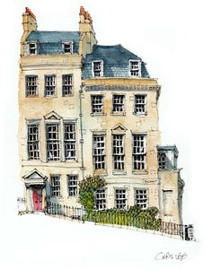 ✩ Check out this list of creative present ideas for people who are into photograhpy Watercolor Architecture, Architecture Sketchbook, Art Sketchbook, Architecture Art, Pen And Watercolor, Watercolor Landscape, Watercolor Paintings, Building Illustration, House Illustration