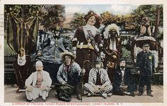 """Hand painted postcard from 1900s reads """"A group of freaks: Funny Place at Steeplechase, Coney Island NY"""""""