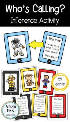 Target inferencing and critical thinking skills with this fun, motivating inference activity! Use the iPhone visual supports to guess who is calling! Black & white version included for an ink saving option.