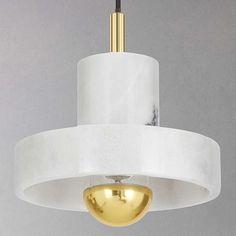 BuyTom Dixon Stone Pendant Ceiling Light, Marble/Brass Online at johnlewis.com