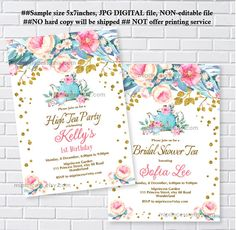 Floral High tea invitation,  boho floral, bridal shower, baby shower, high tea party, any age 20th 30th 40th 50th 60th 70th  -card 1092