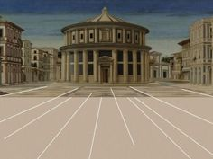 """""""Città ideale"""", olio su pannello, scuola di Piero della Francesca (1470)."""