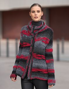 Book Woman Urban 84 Autumn / Winter   21: Woman Jacket   Grey-Red
