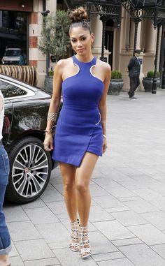 Splurge: Nicole Scherzinger's Global Studios David Koma Blue Wool Dress with Cut-out Detail