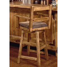 International Furniture Lodge Swivel Counter Stool with Arms - Lacquer - Counter Stools at Bar Stools Wooden Swivel Bar Stools, Diy Bar Stools, Rustic Bar Stools, Bar Stools With Backs, Diy Stool, Swivel Counter Stools, Counter Height Bar Stools, Kitchen Stools, Bar Chairs