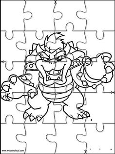 Printable jigsaw puzzles to cut out for kids Mario Bros 18