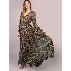Leopard Print Wrap Chiffon Maxi Dress LEOPARD (90 BAM) ❤ liked on Polyvore featuring dresses, chiffon maxi dress, wrap style dress, leopard print maxi dress, leopard wrap dress and wrap maxi dress