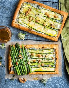 Courgette, asparagus and blue cheese spring tarts. Ketofy it with fat head pizza dough!