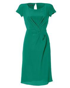 Emerald Draped Silk Dress by Alberta Ferretti