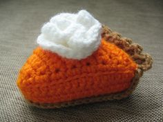Crochet Play Food Slice of Pumpkin Pie