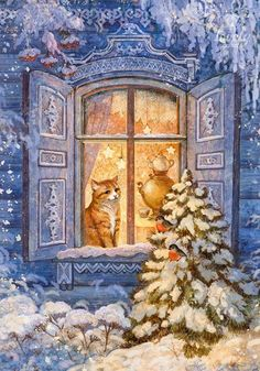 beautiful - winter - snow - cat - christmas