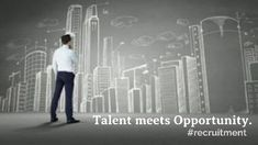 A creative video template for a job vacancy post. Talent meets opportunity A video background of an illustration of office buildings with a man standing in front.