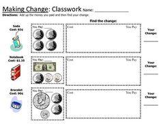 Printables Making Change Worksheets counting making change worksheets money skills pinterest worksheet