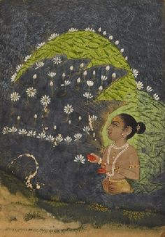 Lady in a lotus lake worshipping the sun Early century. Rajasthan, India (via Ashmolean Museum, University of Oxford) Rajasthani Art, Mughal Paintings, Medieval, India Art, Traditional Paintings, Asian Art, Online Art, Flower Art, Painting & Drawing