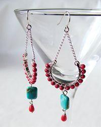 Red wrapped drop earrings
