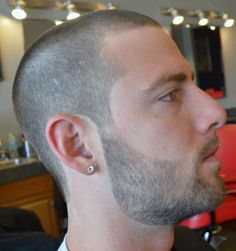 unnamed model with buzzcut and stubble
