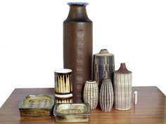 DANISH MODERN and GERMAN KOERTING SGRAFITTO VASES with giant JACOB BANG VASE in Centre