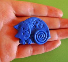 sleeping Cat in Blue Brooch Pin or Magnet  Polymer by Coloraudia, $10.00