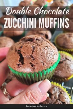 These double chocolate zucchini muffins are the BEST muffins I've ever made. They're super easy and quick to make, and they use less sugar than most muffins but have so much rich dark chocolate flavor. This is the perfect way to use up all the zucchini in your garden. These are great for breakfast, dessert, or a quick snack. Best Zucchini Recipes, Zucchini Muffin Recipes, Healthy Muffin Recipes, Best Homemade Bread Recipe, Homemade Banana Bread, Double Chocolate Zucchini Muffins, Chocolate Muffins, Best Chocolate Desserts, Chocolate Flavors