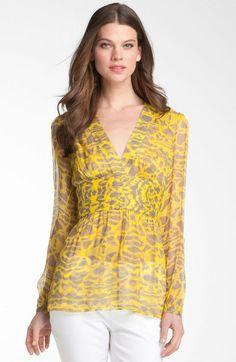 8ba9b5194bad2 Catherine Malandrino Yellow Tie Waist Silk Blouse Yellow Ties