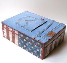 Levi's Jeans Upcycled Handmade Keepsake Box Memory Box
