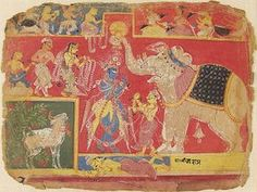 Indra Pays Homage to Krishna, folio from an album of the Bhagavata Purana (Ancient Stories of the Lord)